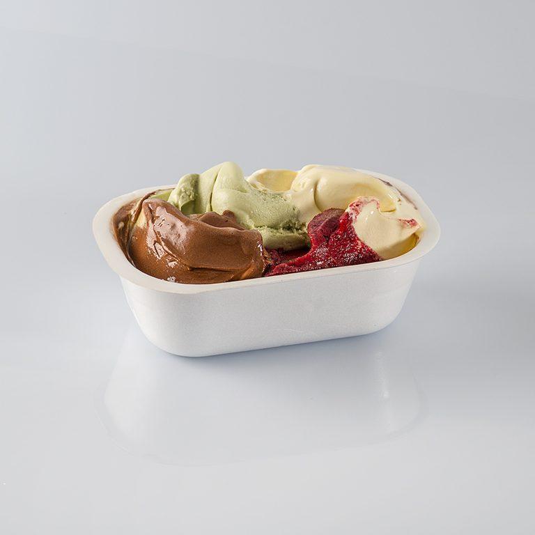 Vaschetta in polistirolo di diversi formati, ideale per trasportare il gelato ancora fresco