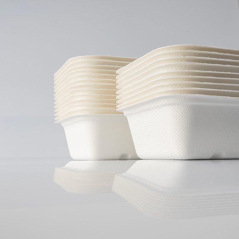 Vaschette eco, biodegradabili e compostabili in polpa di cellulosa di diverse misure e dimensioni, ideali per contenere i piatti preferiti