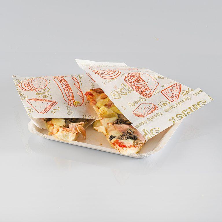 Supporto Prendi Pizza realizzato in carta politenata, ideale nel trasporto o come supporto mentre si gusta un pezzo di pizza