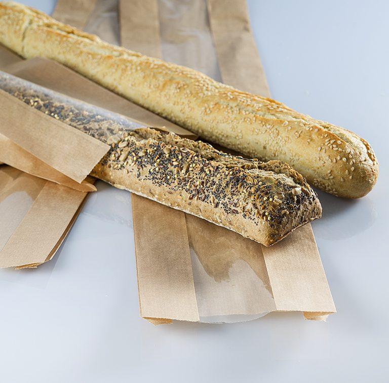 Sacchetto di carta avana, in pura cellulosa, con finestra. Adatto alla conservazione di alimenti, ideale per baguette