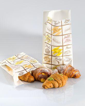 Sacchetto di carta politenata con fantasia, nato dall'unione della carta e uno strato di plastica, ideale per i cibi unti, come brioche, pizza e focaccia