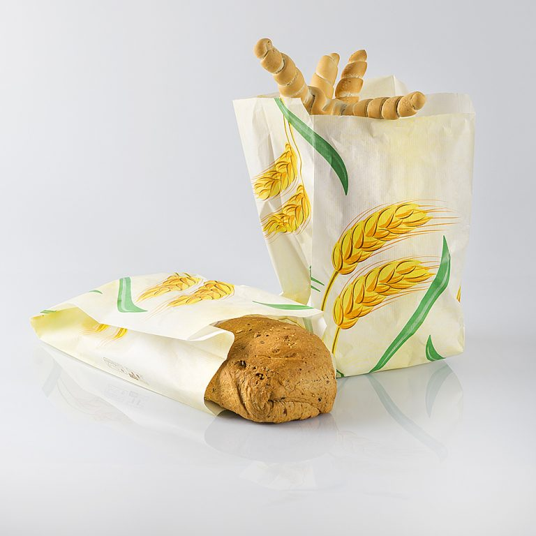 Sacchetto di carta naturale fior di grano, in pura cellulosa. Idoneo alla conservazione di alimenti, ideale per il pane