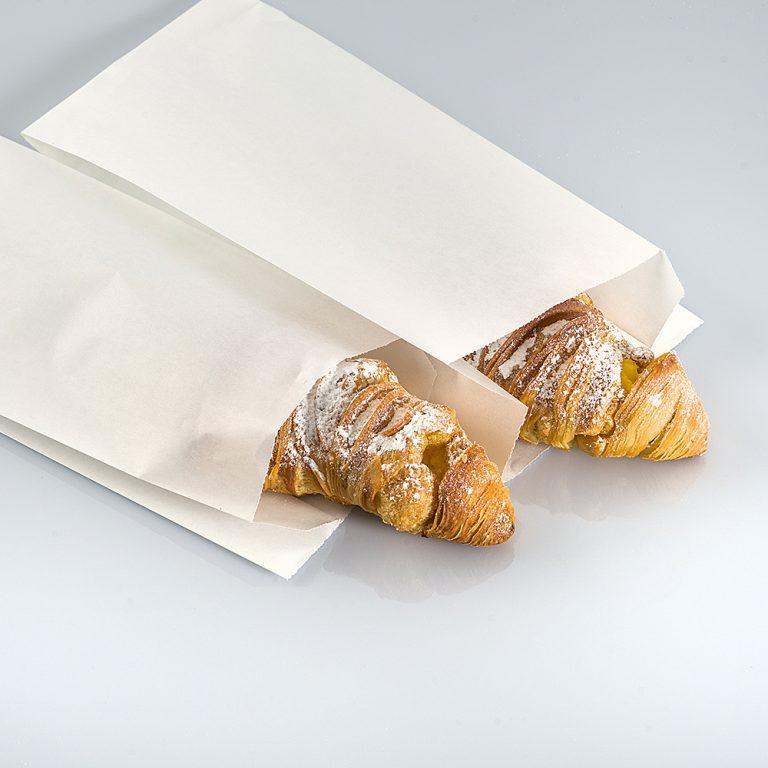Sacchetto di carta politenata, nato dall'unione della carta e uno strato di plastica, ideale per i cibi unti, come brioche, pizza e focaccia